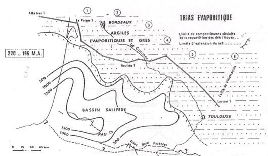 Distribution schématique des faciès évaporites dans le bassin aquitain pendant le Trias (d'après Curnelle, 1983 ; Source : Le Sel de Salies-de-Béarn de Dominique Geisler-Cussey et Marcel Saule)